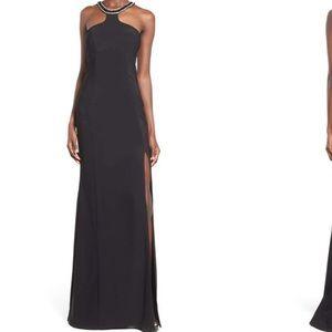 NWT black embellished halter gown